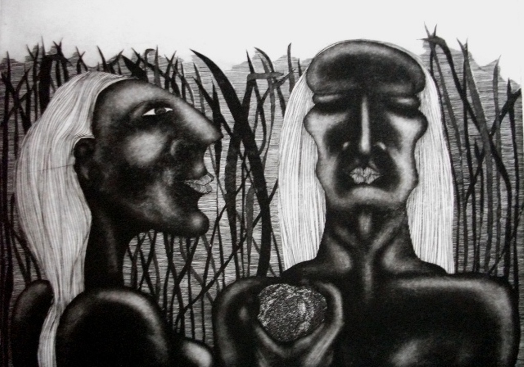 Adam-and-Eve-and-Apple-etching-350-x-495, by the artist Helena Orlowski