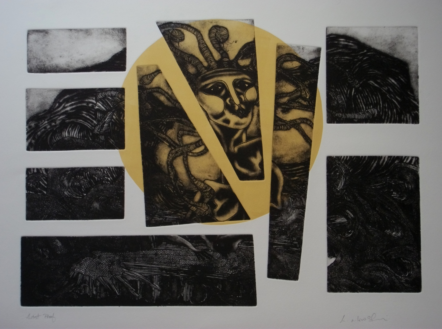 Fragmented-Medusa-etching-and-relief-colour-390-x-540, by the artist Helena Orlowski