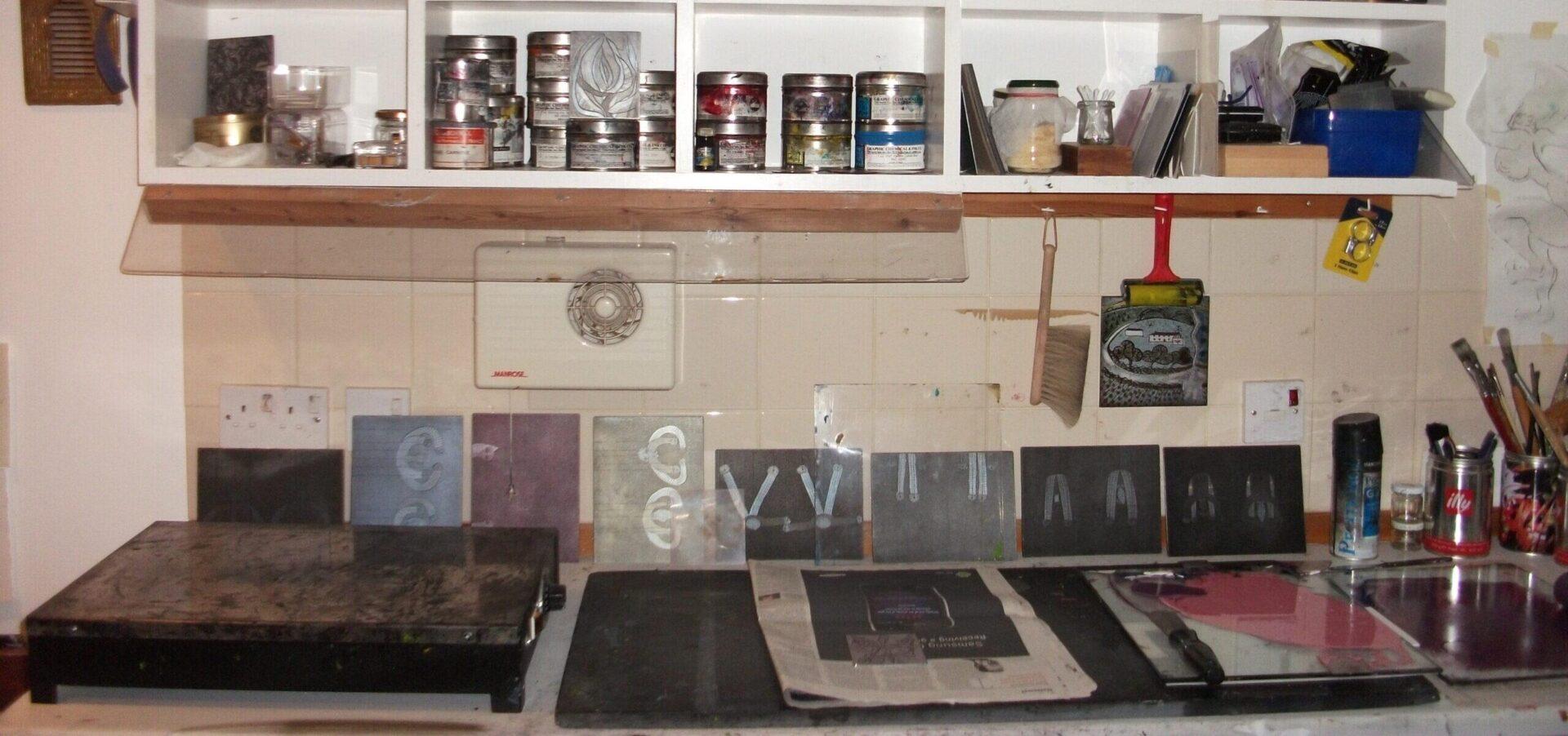 Studio shelves and equipment