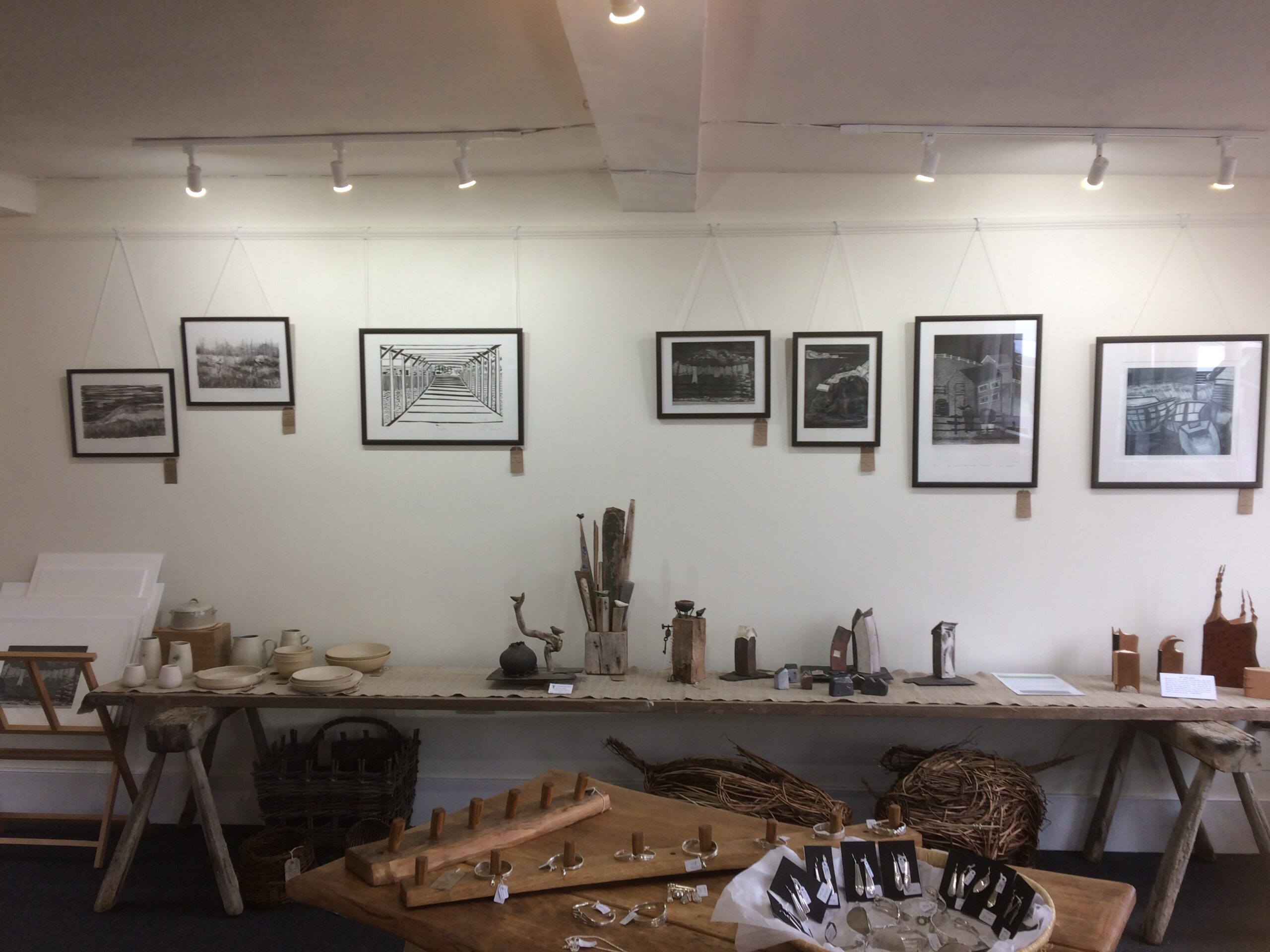 Artwork hanging at Made In The Marches 2 exhibitions