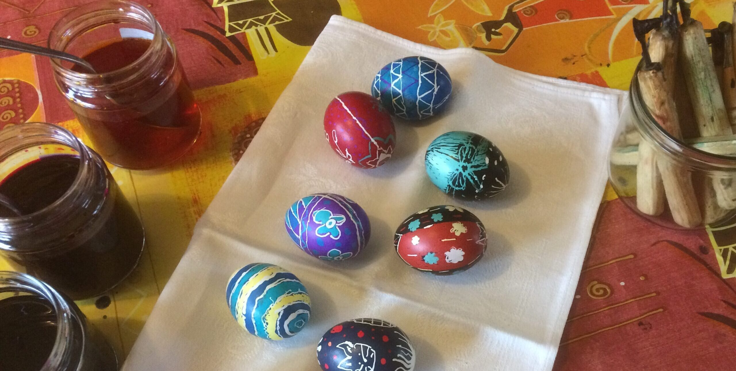 Finished pysanky eggs from workshop