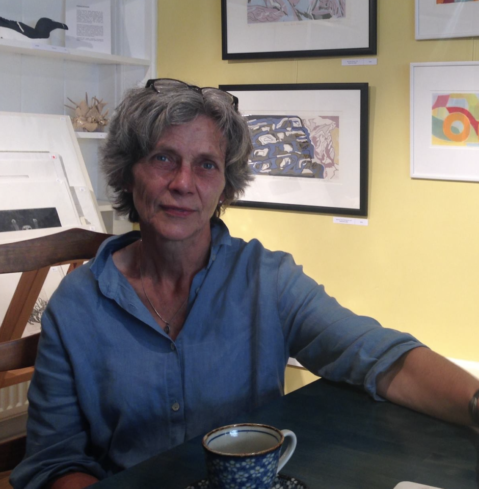 Helena, artist and printmaker, at exhibition