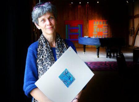 Helena, artist at exhibition